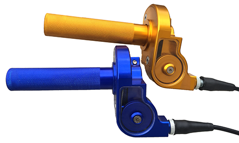 two DMF Throttle assemblies (one blue & one gold)
